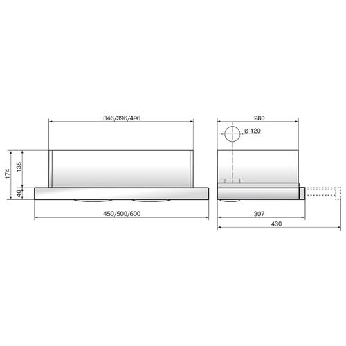 Встраиваемая вытяжка ELIKOR Интегра 50 нержавейка / белое стекло