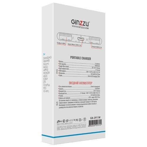 Аккумулятор Ginzzu GB-3911, 10000 mAh