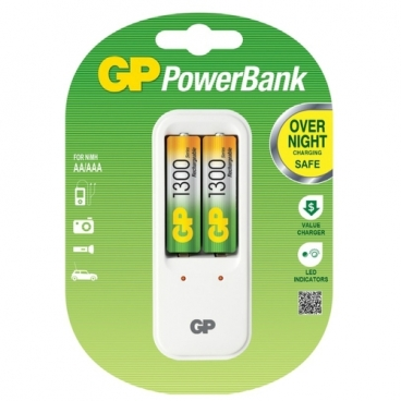 Аккумулятор Ni-Mh 650 мА·ч GP Rechargeable 650 Series AAA + Зарядное устройство PowerBank