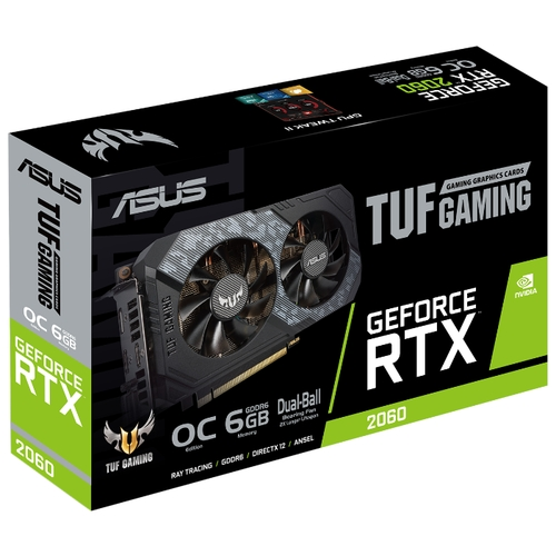 Видеокарта ASUS TUF GeForce RTX 2060 1365MHz PCI-E 3.0 6144MB 14000MHz 192 bit DVI DisplayPort 2xHDMI HDCP GAMING OC