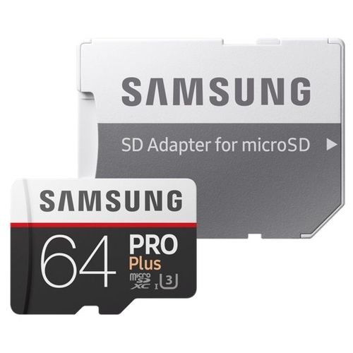 Карта памяти Samsung microSDXC PRO Plus 100MB/s 64GB + SD adapter