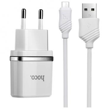 Сетевая зарядка Hoco C11 Smart + microUSB