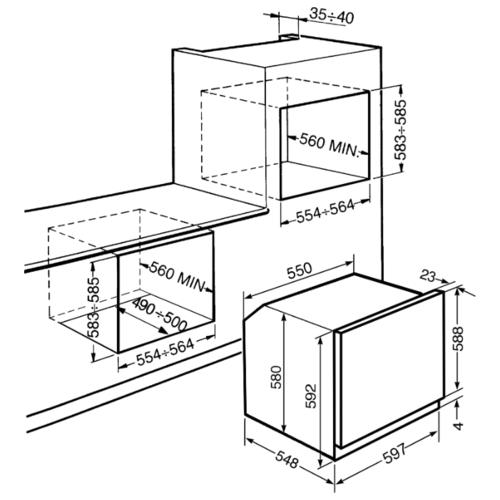 Электрический духовой шкаф smeg SF64M3VS