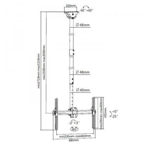 Кронштейн на потолок ITECHmount CELB-54XL