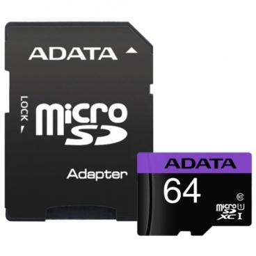 Карта памяти ADATA Premier microSDXC Class 10 UHS-I U1 64GB + SD adapter