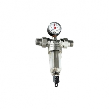 Фильтр механической очистки Tiemme 3135N муфтовый (ВР/ВР), латунь, со сливом, с манометром