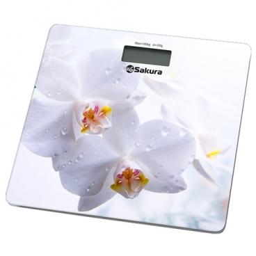 Весы Sakura SA-5065WF белые орхидеи