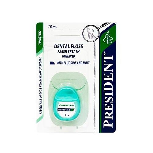 PresiDENT Зубная нить невощеная мятная с фтором 15м