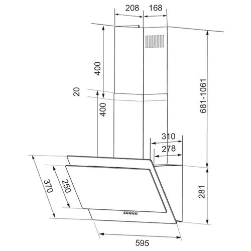 Каминная вытяжка Shindo VELA sensor 60 B/BG
