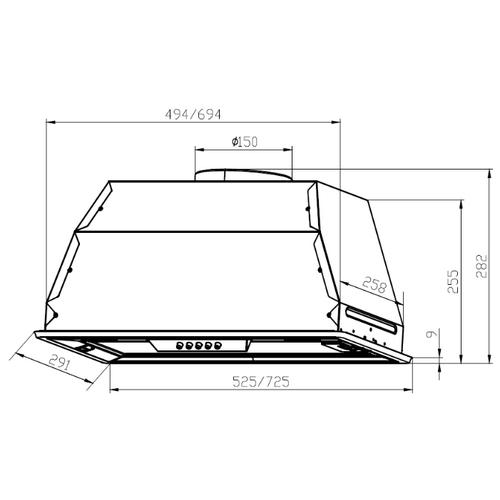 Встраиваемая вытяжка LEX GS Bloc P 600 Inox