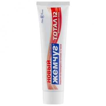 Зубная паста Новый Жемчуг Тотал 12 Восстановление эмали, гвоздика и корица