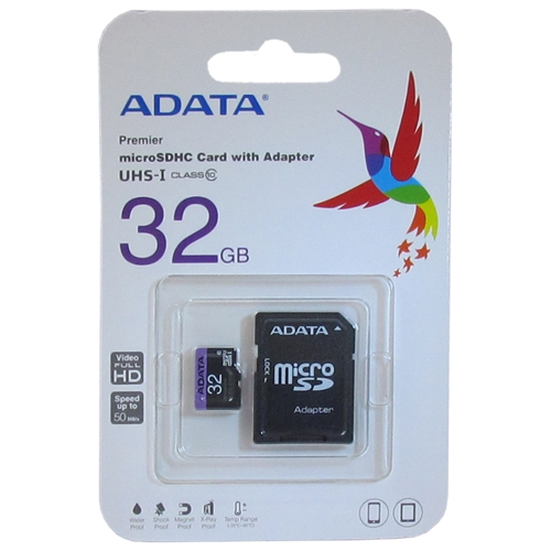 Карта памяти ADATA Premier microSDHC Class 10 UHS-I U1 32GB + SD adapter
