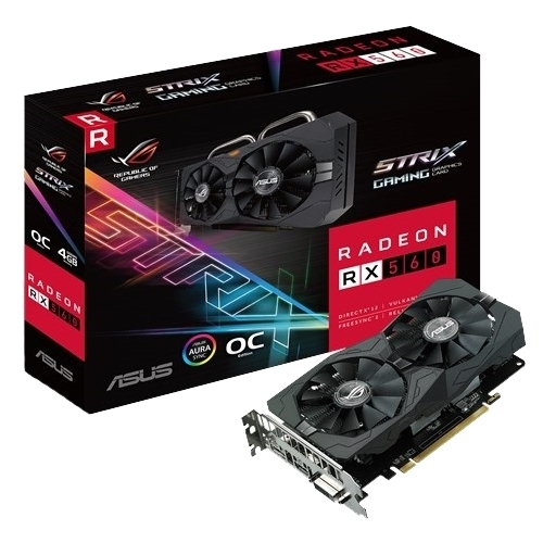 Видеокарта ASUS Radeon RX 560 1326MHz PCI-E 3.0 4096MB 7000MHz 128 bit DVI HDMI HDCP Strix Gaming OC