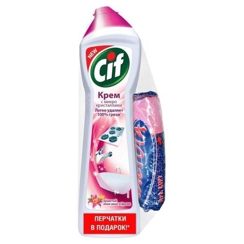 Чистящий крем Розовая свежесть (защитные перчатки в подарок) Cif