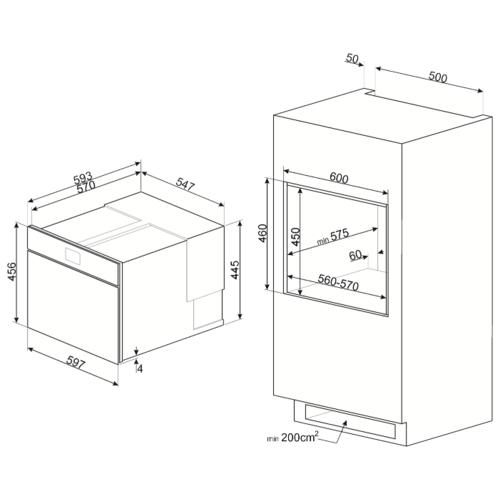 Электрический духовой шкаф smeg SAB4604NR
