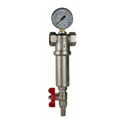 Фильтр механической очистки AQUAFILTER HSH1-FHMB1 муфтовый (ВР/ВР), нержавеющая сталь, с манометром