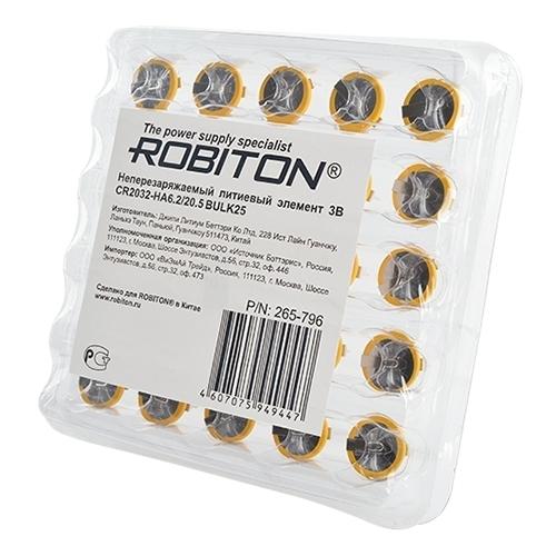 Батарейка ROBITON R-CR2032HA62-bulk25