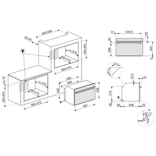 Электрический духовой шкаф smeg SF4390VCX1