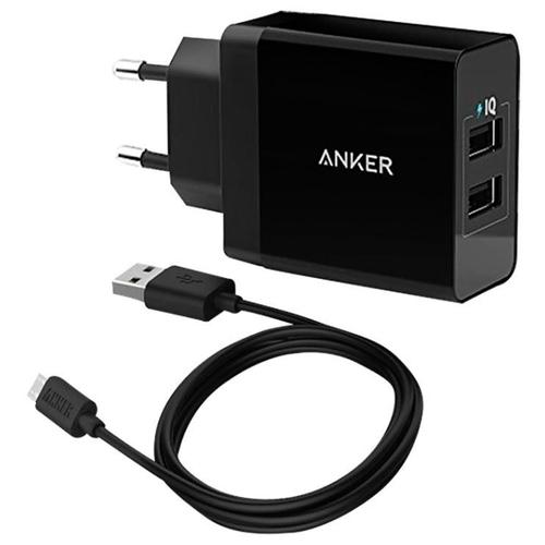 Сетевая зарядка ANKER PowerPort 2 USB + Micro USB cable