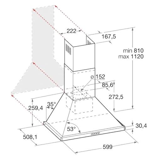 Каминная вытяжка Hotpoint-Ariston HHPN 6.5F LM OW