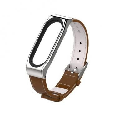 Mijobs Кожаный ремешок Leather Strap Plus для Xiaomi Mi Band 3