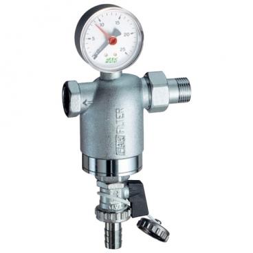 Фильтр механической очистки FAR FA 3946 12100 муфтовый (ВР/НР), латунь, с манометром