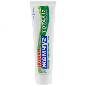 Зубная паста Новый Жемчуг Тотал 12 Отбеливание от природы, гвоздика и корица