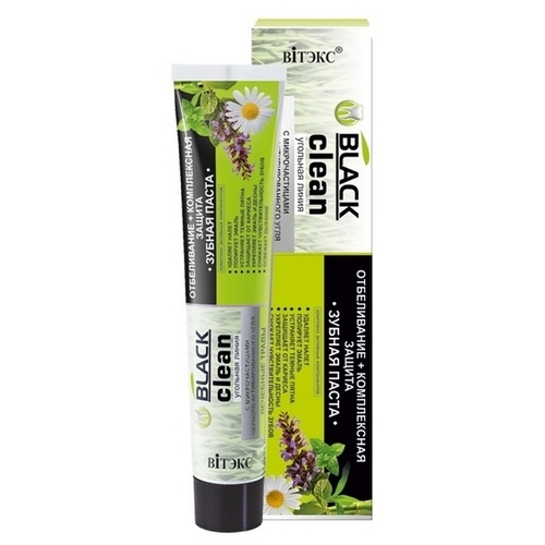 Зубная паста Витэкс Black clean отбеливание+комплексная защита с микрочастицами черного активированного угля и лечебными травами