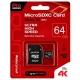 Карта памяти Qumo microSDXC class 10 UHS Class 3 64GB + SD adapter