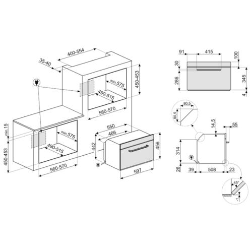 Электрический духовой шкаф smeg SF4920VCP1