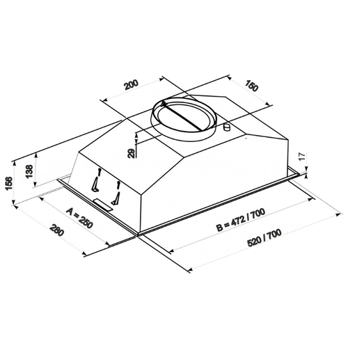Встраиваемая вытяжка ZorG Modul 960 70