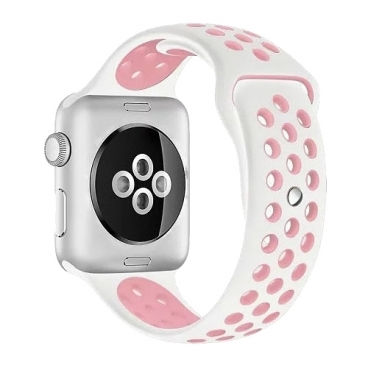Karmaso Ремешок для Apple Watch 42 мм белый с розовым