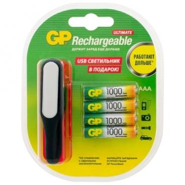 Аккумулятор Ni-Mh 1000 мА·ч GP Rechargeable 1000 Series AAA + USB светильник