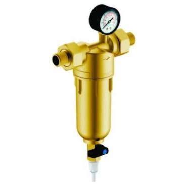 Фильтр механической очистки Гейзер Бастион 122 3/4 муфтовый (НР/НР), латунь, с манометром