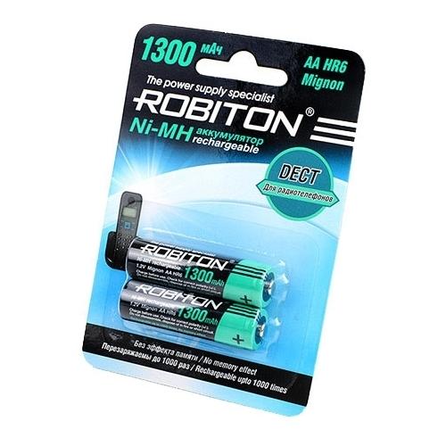 Аккумулятор Ni-Mh 1300 мА·ч ROBITON DECT AA HR6 Mignon 1300