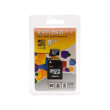 Карта памяти EXPLOYD microSDHC Class 10 8GB + SD adapter