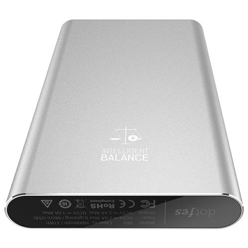 Аккумулятор Dotfes D03 Aluminium Alloy 10000mAh, AutoMax, два USB выхода 2,4A / 2,4A