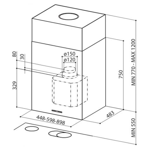 Каминная вытяжка Faber Cubia Isola EG8 X A60 Active