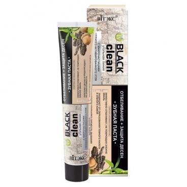 Зубная паста Витэкс Black clean отбеливание+защита десен с микрочастицами черного активированного угля и корой дуба