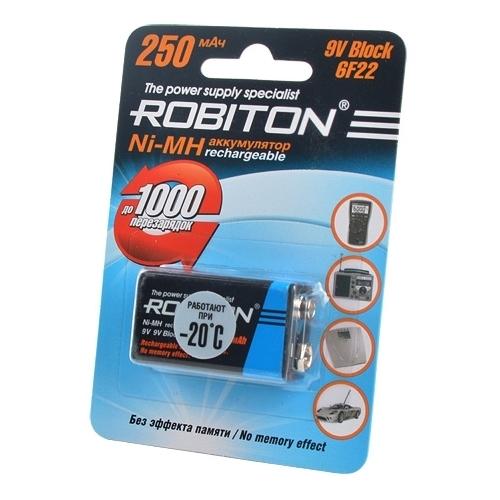 Аккумулятор Ni-Mh 250 мА·ч ROBITON 9V Крона 6F22 250