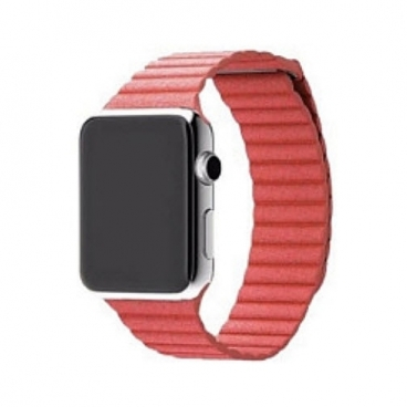 Karmaso Ремешок для Apple Watch 38 мм кожаный красный