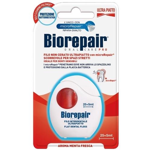 Biorepair Ultra-flat unwaxed floss ультраплоская зубная нить без воска для чувствительных зубов, 30м