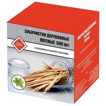 HomeQueen Зубочистки деревянные мятные в индивидуальной упаковке