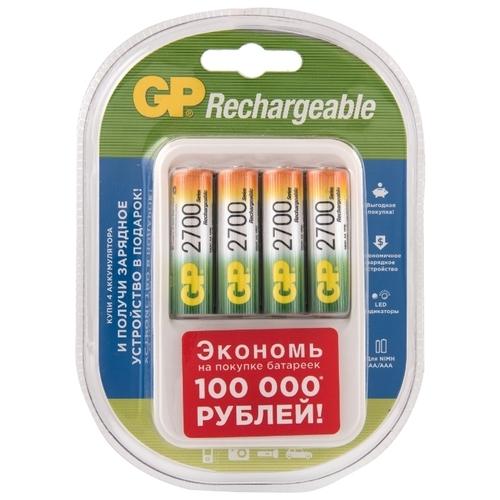 Аккумулятор Ni-Mh 2700 мА·ч GP Rechargeable 2700 Series AA + Зарядное устройство PowerBank PB420