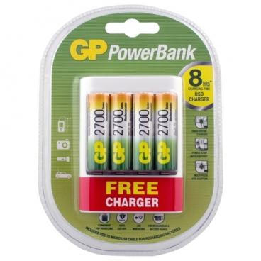 Аккумулятор Ni-Mh 2700 мА·ч GP Rechargeable 2700 Series AA + Зарядное устройство USB PowerBank