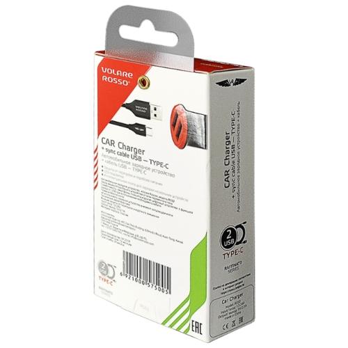 Автомобильная зарядка Volare Rosso RC02 + кабель USB Type-C