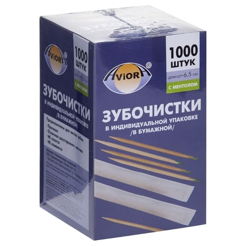 Aviora зубочистки Бамбуковые с ментолом в инд. упаковке (в бумаге)