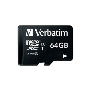 Карта памяти Verbatim microSDXC Class 10 UHS-1 + SD adapter