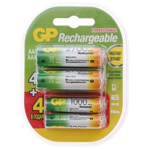 Аккумулятор Ni-Mh GP Rechargeable 2700 Series AA + Rechargeable 1000 Series AAA