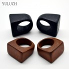 YULUCH NEW Hot Sale Trend Original Natural Wood Rings Handmade Rings for Women Fashion Jewelry Retro Black And Brown Rings
